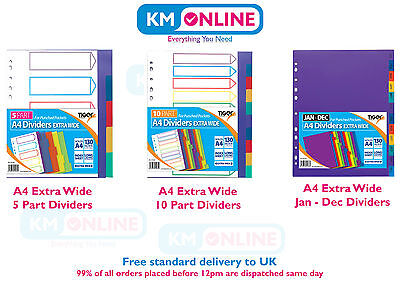 A4 5/10 Part Jan-Dec Extra Wide Subject Dividers For Punched Pocket Ring Binder