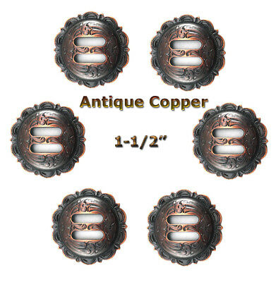 Conchos Lot Of 6 Pc Western Scalloped Antique Copper Slotted Saddle 2 Sizes