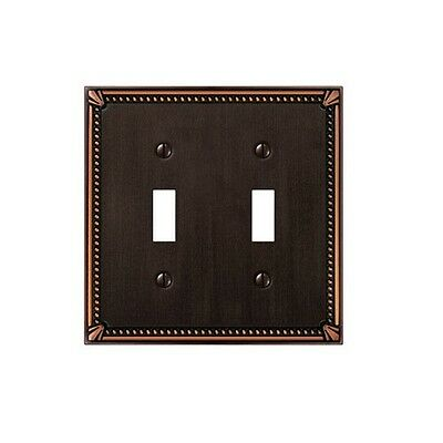 Amerelle 74TTDB Imperial Bead 2 Toggle Wall Plate, Aged Bronze