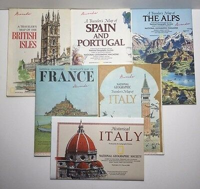 Lot Of 6 NATIONAL GEOGRAPHIC Informational Assorted Europe Travelers Maps