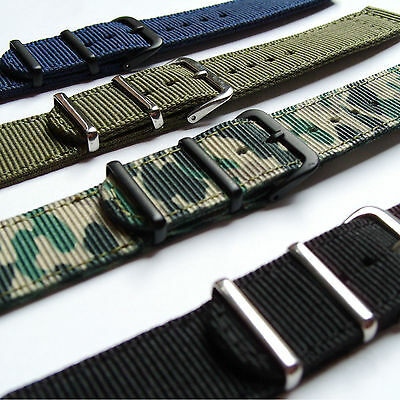 NYLON FABRIC MILITARY WATCH STRAP 18, 20mm Black Blue Green Camo PREMIUM QUALITY