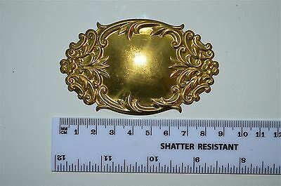 Original antique pressed brass furniture mount mirror cartouche emblem G12