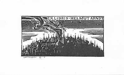,Bookplates, Helmut Arndt, Owl, Aulitzky, Russian spires, Chishjnak,  qf 366