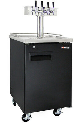 Kegco 4 Tap Commercial Keg Beer Dispenser Black Kegerator - NO DISPENSE KIT