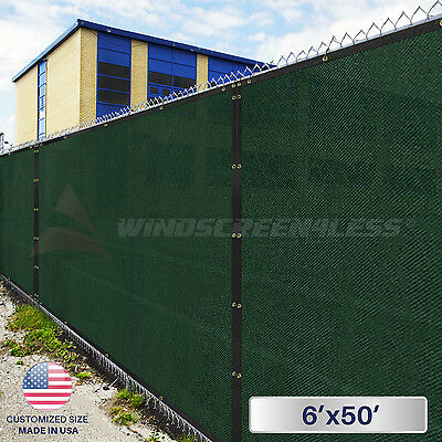 6'x50' Green Privacy Screen Mesh Fence Shade Cover Windscreen Zip Ties Included