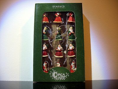 Vintage style 12 Mini Santa claus Christmas ornaments Circa 1900 styled  Demdaco