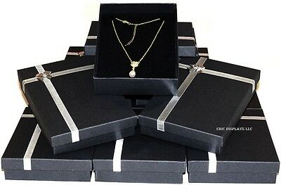 LOT OF 1~96 Pcs NECKLACE DISPLAYS BLACK JEWELRY GIFT BOXES LARGE NECKLACE BOXES