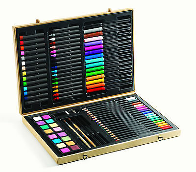 NEW Djeco 88 PCS Big Box of Colours Childrens Art Set Pencils Pens Crayons Paint