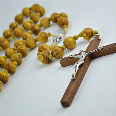 Big Brown Wooden Beads Religious Christian Rosary With Jesus Wooden Cross