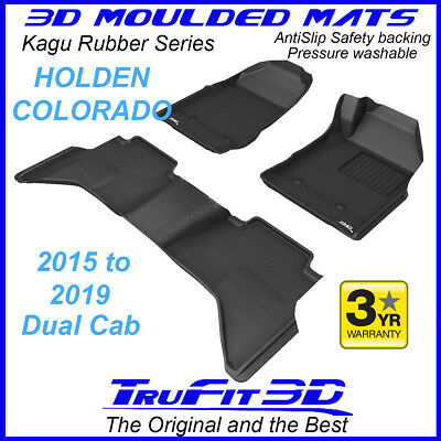 To suit Holden Colorado Dual Cab 2015 to 2018 - BLACK Rubber 3D Car Floor Mats