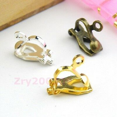 34Pcs Clip On Earring Ear wire With Loop Silver/Gold/Bronze R0075