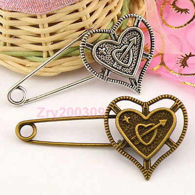 4Pcs Tibetan Silver.Antiqued Bronze Heart Safety Brooch Pins Clasps M1345