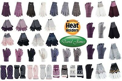 Ladies  Heat Holders Winter Warm Thermal GLOVES, MITTENS, CONVERTER, FINGERLESS