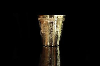Antique Original Perfect Ottoman  Silver Amazing Tugra Decorated Cup