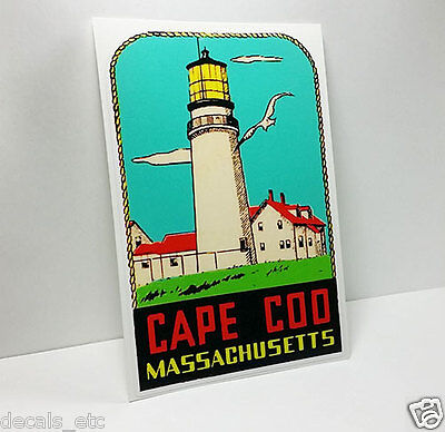 CAPE COD MASSACHUSETTS Vintage Style Travel Decal, Vinyl Sticker, Luggage Label