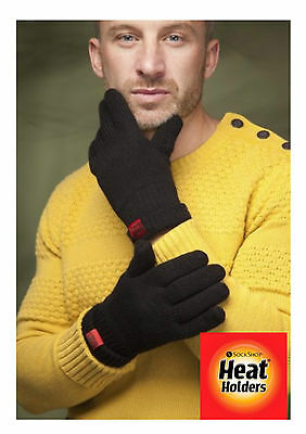 Mens Super Thermal Heat Holders Tog Rated Fleece Lined Gloves Black 2 Sizes (RL)