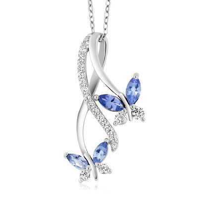 1.21 Ct Marquise Blue Tanzanite 925 Sterling Silver Butterfly Infinity Pendant