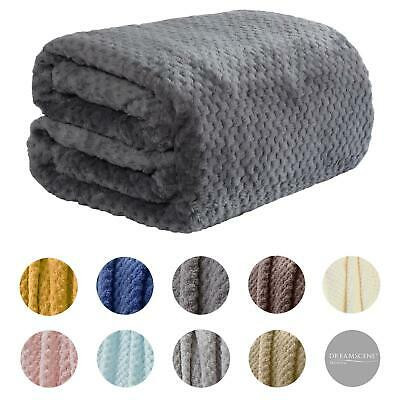 Dreamscene Luxury Large Waffle Honeycomb Mink Warm Throw Over Bed Soft Blanket
