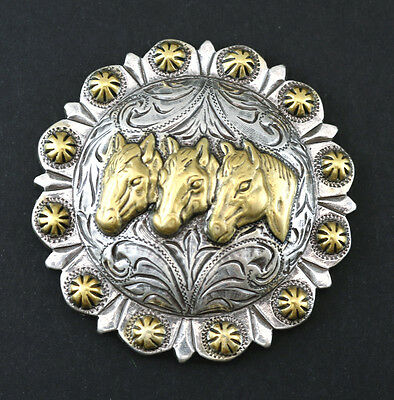 Conchos Lot Of 6 Pcs Three Horse Head Berry 2 3/8 Inches Engraved Western Rodeo