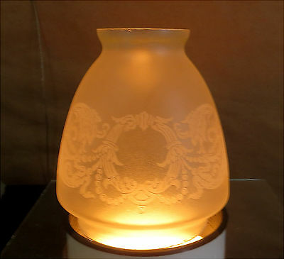 ANTIQUE FROSTED GLASS LAMP Pendant SHADE VICTORIAN ETCHED DECO VICTORIAN