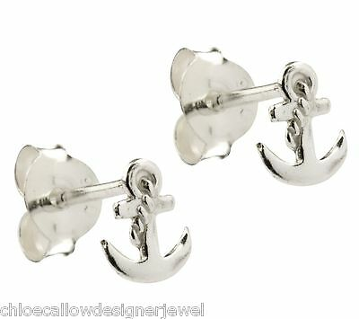 1x Pair of 925 Sterling Silver Anchor Ear Studs Earrings gift bag