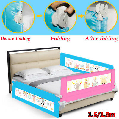 Kids Baby Cot Child Safety Bed Rail Bed Guard Protection Folding Bedrail 4 Color