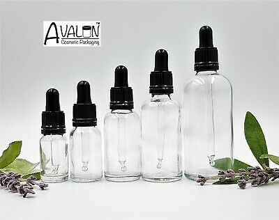 Clear Glass Dropper Bottle Aromatherapy Homeopathy 10ml -100ml BLACK PIPETTE