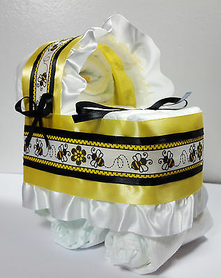 Diaper Cake Beautiful Bassinet Carriage Baby Shower Neutral - Yellow Bumble Bees
