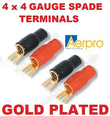 AERPRO AP701 4 GAUGE SPADE FORK TERMINAL - Pack of 4 - POWER WIRE BATTERY CABLE