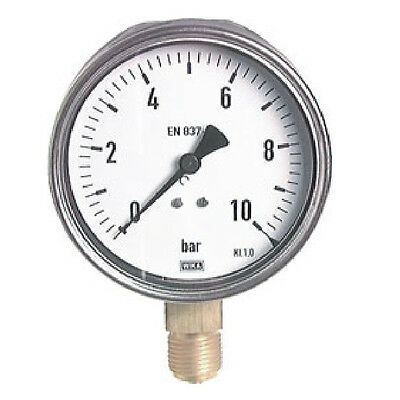 160 mm Stainless Steel Manometer 0/100 Bar Industrial Quality