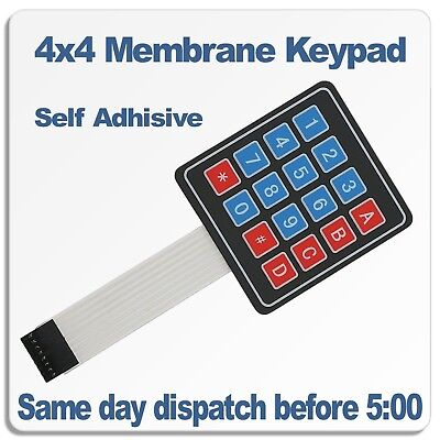 16 Key 4x4 Membrane Matrix Keypad Self adhesive ideal for Arduino, PI, PIC, AVR