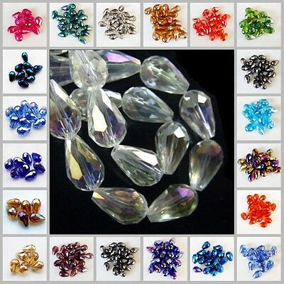 20/50pcs Faceted Teardrop Glass Crystal 5500# Charm Loose Spacer Beads 6x8mm DIY