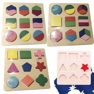 Baby Child Kid Educational Wood Shape Sorter Board Wooden  Toys Blocks GBDOM 11