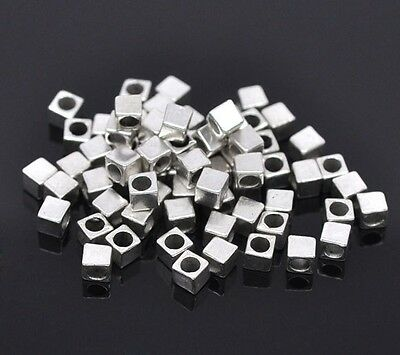 🎀 3 FOR 2 🎀 100 Antique Silver Cube 3mm Spacer Beads For Jewellery Making
