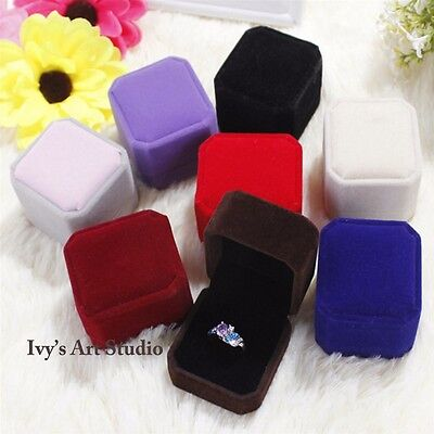 Jewelry Earring Ring Gift Boxes Display Storage Organizer Wedding Velvet 5cm