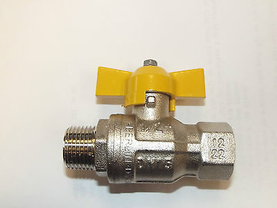 T Handle Gas Ball Valves Yellow  Handle BSP, Gas Approved T Handle Ball Valves