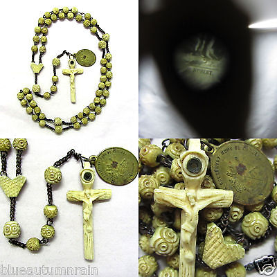 † Htf Antique Stanhope Carved Bovine Rosary Saint Hubert & Roch Medal Hunting †