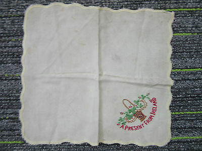 WW1 Cotton Hanky A Present From Ireland The Great War Embroidery Silk FC22