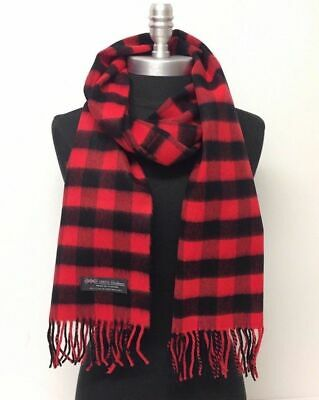 Men 100% CASHMERE SCARF MADE IN SCOTLAND PLAID DESIGN SOFT Wool Wrap Camel Black