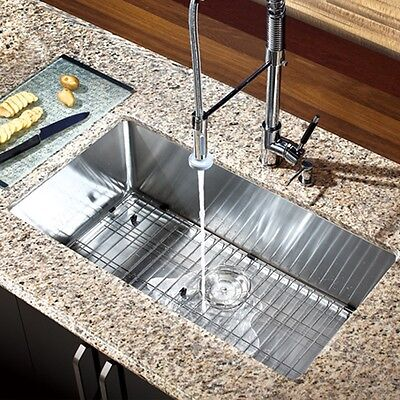"""30"""" x 16"""" Single Bowl Stainless Steel Hand Made Undermount Kitchen Sink COMBO"""