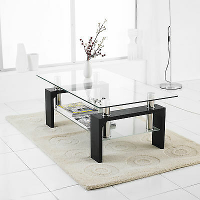 Modern Rectangle Glass & Chrome Living Room Coffee Table With Lower Shelf