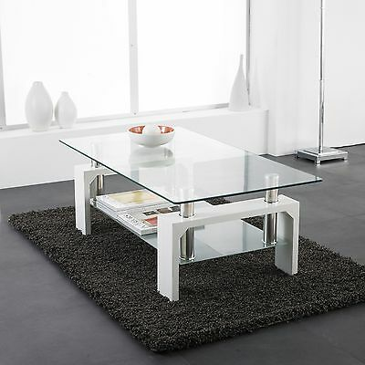 White Modern Rectangle Glass & Chrome Living Room Coffee Table With Lower Shelf