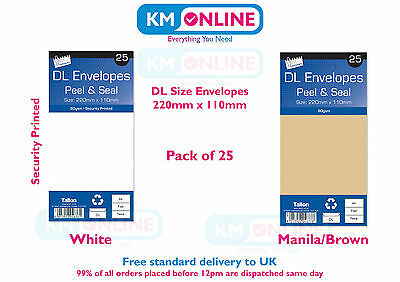 DL Envelopes White/Manila Brown Peel and Seal 220mm x 110mm 80gsm Pack 25