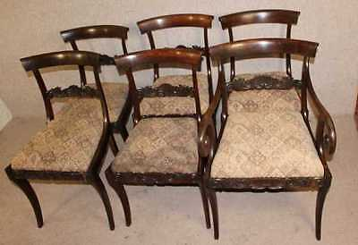 1900's Quality Set 6  Mahogany Bar Back Dining Chairs with pop out seats.