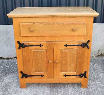 Modern Solid Oak Cabinet/ Server with Cupboard and Drawer. Metal detailing.