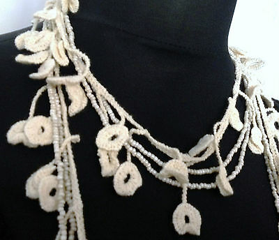 Beautiful Vintage 70'S Style Cream Crochet Beaded Boho Lagenlook Necklace