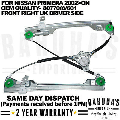 For Nissan Primera P12 Electric Window Regulator Front Right Drivers 2002 On New