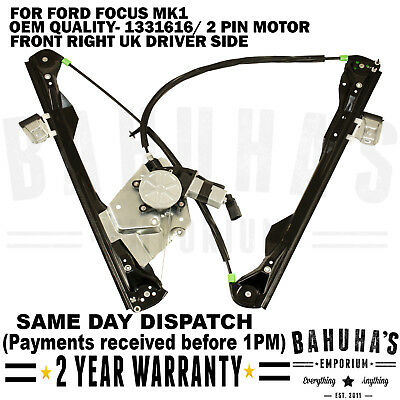 Front Right Side Window Regulator With 2 Pin Motor For Ford Focus Mk1 2/3 Doors