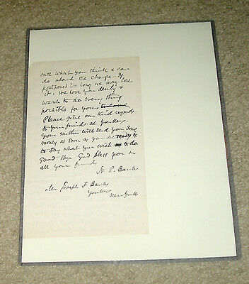 2015 Historic Autographs Civil War Nathaniel Banks signed letter autograph LOA