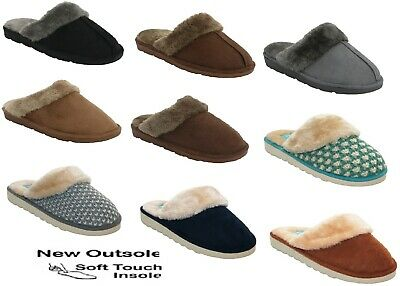 New Ladies Slip On Mules Warm Winter Hard Sole Fur Lined Womens Slippers  Shoes